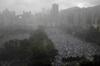 Protesters gather in Hong Kong's Victoria Park on Sunday.