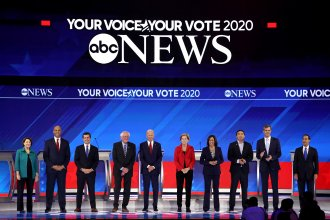 Ten democratic presidential candidates appear onstage before the start of the Democratic Presidential Debate at Texas Southern University in Houston on Thursday.