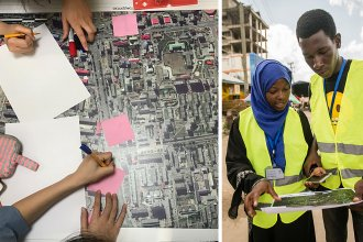 """Left: Volunteers take part in a """"mapathon"""" organized by the Humanitarian OpenStreetMap Team. Right: OpenStreetMap contributors pinpoint dump sites along rivers and waterways in Dar es Salaam in an effort to predict and prevent flooding in the Tanzanian city."""