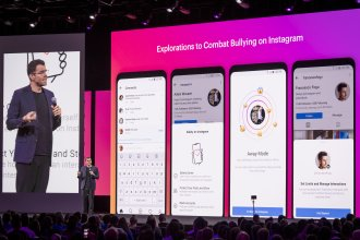 Adam Mosseri, head of Instagram, speaks about the social media platform's anti-bullying efforts at the F8 developers conference in San Jose, Calif., on April 30.