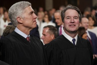 Justice Neil Gorsuch, left, seen here with Justice Brett Kavanaugh, asked many of the key questions in Tuesday's case before the U.S. Supreme Court that centered on whether employers can fire gay or transgender workers.