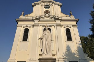 Gora Kalwaria's Immaculate Conception Church stands in the center of the small town outside Warsaw.