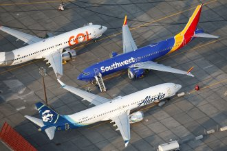Grounded Gol Airlines, Southwest Airlines and Alaska Airlines Boeing 737 Max aircraft at Boeing facilities in Moses Lake, Wash., last month