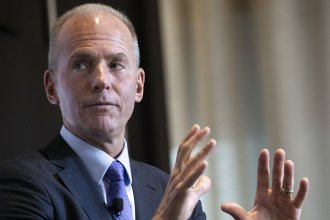 Boeing CEO Dennis Muilenburg in New York earlier this month. The Boeing board has voted to take away his job as chairman so he can focus on fixing 737 Max jets which are all grounded after two fatal crashes.