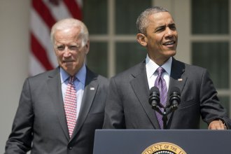 President Obama, accompanied by Vice President Joe Biden, spoke about U.S. ties with Cuba during remarks Wednesday in the Rose Garden of the White House.