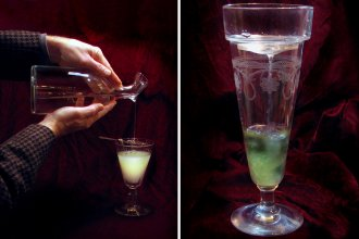 <em>Le louche </em>refers to the transformation that happens when water is added to absinthe, turning the liquor from a deep green to a milky, iridescent shade. At left, a classic pour. At right, an absinthe glass fitted with a <em>brouilleur, a</em> device that holds the ice and lets water slowly drip down.