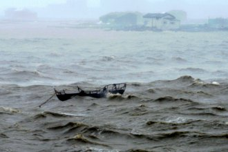 Waves near Xiuyu district of Putian, southeast China's Fujian Province as Typhoon Soudelor lands on the coast Saturday night.