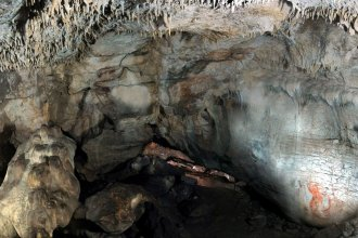 A view inside Grotta Paglicci, in southern Italy, with wall paintings. Scientists say a 32,000-year-old stone found inside the cave was used to grind flour.