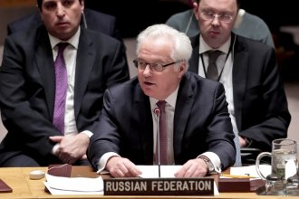 Russian U.N. ambassador Vitaly Churkin speaking before the Security Council in March 2016. The veteran diplomat died Monday at the age of 64.