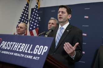 House Speaker Paul Ryan speaks to reporters after a meeting with President Trump, who came to Capitol Hill to rally GOP lawmakers behind the Republican health care overhaul.