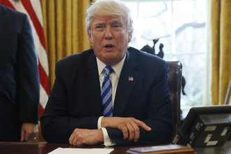 President Donald Trump speaks to the media in the Oval Office on Friday, March 24, 2017.  (AP Photo/Pablo Martinez Monsivais)