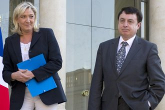 French far-right candidate Marine Le Pen's National Front party now has a new interim leader, after Jean-Francois Jalkh (right) stepped down over comments about the Holocaust. The two are seen here at the Elysee in 2014.