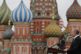 Russian President Vladimir Putin speaks at the Red Square during the Victory Day military parade in Moscow on May 9, 2017.