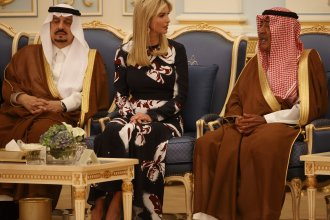 Ivanka Trump participates in a presentation ceremony of The Collar of Abdulaziz Al Saud Medal to President Donald Trump at the Royal Court Palace, Saturday, in Riyadh.