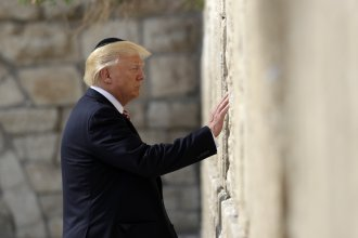 President Trump visits the Western Wall on Monday.