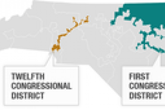 The two congressional districts at issue in the Supreme Court case <em>Cooper v. Harris</em>.