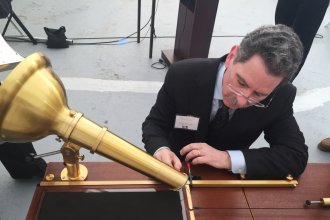 David Giovannoni uses a reproduction of Scott's phonautograph. Giovanni is part of the team that recovered the audio from Scott's recordings.