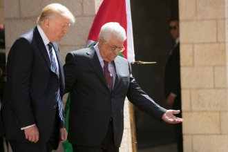 President Trump and Palestinian Authority President Mahmoud Abbas participate in a welcome ceremony Tuesday at the Presidential Palace in the West Bank city of Bethlehem.