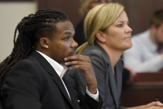 Brandon E. Banks and his attorney Katie Hagan listen during his trial June 19 in Nashville. The jury on Friday convicted Banks of rape and sexual battery.