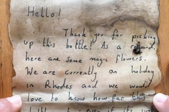 An English couple on vacation in Greece composed this note, rolled it up in a bottle and, on July 4, tossed it into the Mediterranean Sea. A Palestinian fisherman caught it in his net this week. He says it's the first piece of personal mail he has ever received.