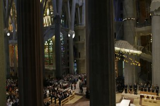 Spain's King Felipe and Queen Letizia and other dignitaries attend a solemn Mass at Barcelona's Sagrada Familia Basilica on Sunday for the victims of the terror attacks that killed 14 people and wounded over 120 in Barcelona, Spain.