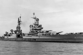 In this July 10, 1945, photo provided by U.S. Navy media content operations, USS Indianapolis (CA 35) is shown off the Mare Island Navy Yard, in Northern California, 20 days before she was sunk by Japanese torpedoes.