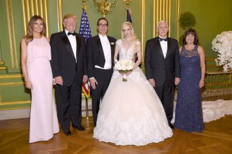 First lady Melania Trump, President Trump, Secretary of the Treasury Steven Mnuchin and his wife Louise Linton, Vice President Pence, and second lady Karen Pence are photographed at Mnuchin and Linton's wedding on June 24 in Washington, D.C.