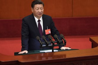 China's President Xi Jinping gives a speech at the opening session of the Chinese Communist Party Congress on Wednesday.