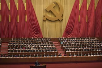 Chinese President Xi Jinping speaks Wednesday at the opening session of the 19th national congress of China's ruling Communist Party at The Great Hall Of The People in Beijing. The congress takes place every five years.