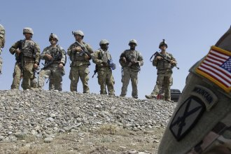 U.S. soldiers take part in NATO-led military exercises at the military base of Vaziani, outside Tbilisi, Georgia, in August.