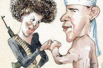 """Blitt's 2008 <em>New Yorker</em> cover, """"Fistbump: The Politics of Fear,"""" was inspired by the rumors that circulated about the Obamas during that year's presidential campaign."""