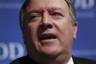 CIA Director Mike Pompeo speaks during the Foundation for Defense of Democracies (FDD) National Security Summit in Washington, on Thursday.
