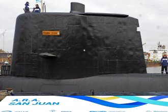 The conning tower of the ARA San Juan submarine shown as the vessel is being delivered to the Argentine Navy after an extensive refit in Buenos Aires, in May 2014.