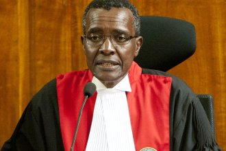 Kenyan Supreme Court Chief Justice David Maraga presides during the judgement of election-related petitions in Nairobi on Monday.