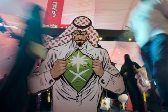 Visitors enter Saudi Comic Con (SCC) which is the first event of its kind to be held in Jiddah, Saudi Arabia, in February. The kingdom has also announced the reopening of cinemas after a decades-long ban.