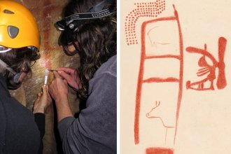 Left: Dirk Hoffmann and Alistair Pike sample calcite from a calcite crust on top of the red scalariform sign in La Pasiega.Right: Drawing of Panel 78 in La Pasiega by Breuil <em>et al.</em>(1913). The red scalariform (ladder) symbol has a minimum age of 64,000 years but it is unclear if the animals and other symbols were painted later.