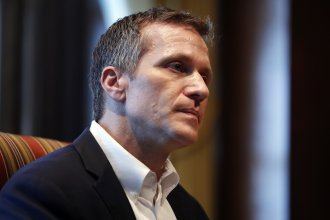 Missouri Gov. Eric Greitens during an interview at the Missouri Capitol in January 2018 after his extramarital affair was exposed.