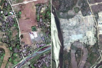 On the left, a satellite image of the village of Thit Tone Nar Gwa Son on Dec. 2; on the right, the same village seen from space earlier this week. Human rights advocates say the government is destroying what amounts to scores of crime scenes before any credible investigation takes place.