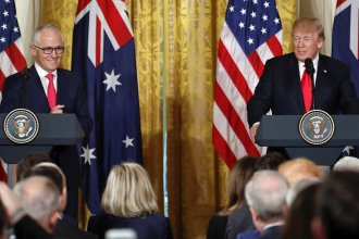 President Donald Trump and Australian Prime Minister Malcolm Turnbull speak during a news conference at the White House in Washington on Friday.