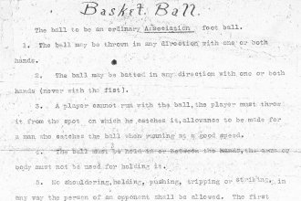 First draft of Basket Ball rules, which hung in the gym so that the boys might learn the rules.  (Photo Courtesy of KU University Archives/Spencer Library)
