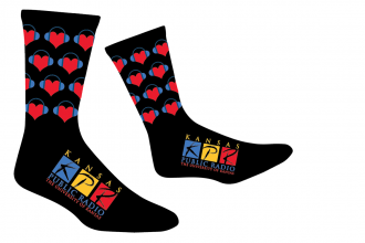 Get a pair, Give a pair! During KPR's Holiday Socktacular membership drive, for every pledge of $120 or more, not only will you get a pair of these custom-designed KPR socks, we'll give a pair of socks to a local homeless shelter.