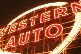The iconic Western Auto sign, seen in this file photo from the Kansas City Star, is being restored and should come back to life sometime this summer.