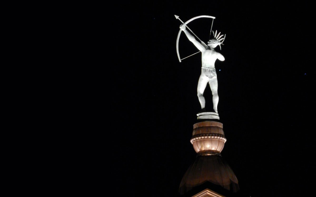 "The statute that stands atop the Kansas Statehouse dome depicts a Kansa Indian brave named ""Ad Astra."" (Flickr Photo by Mike Linksvayer)"