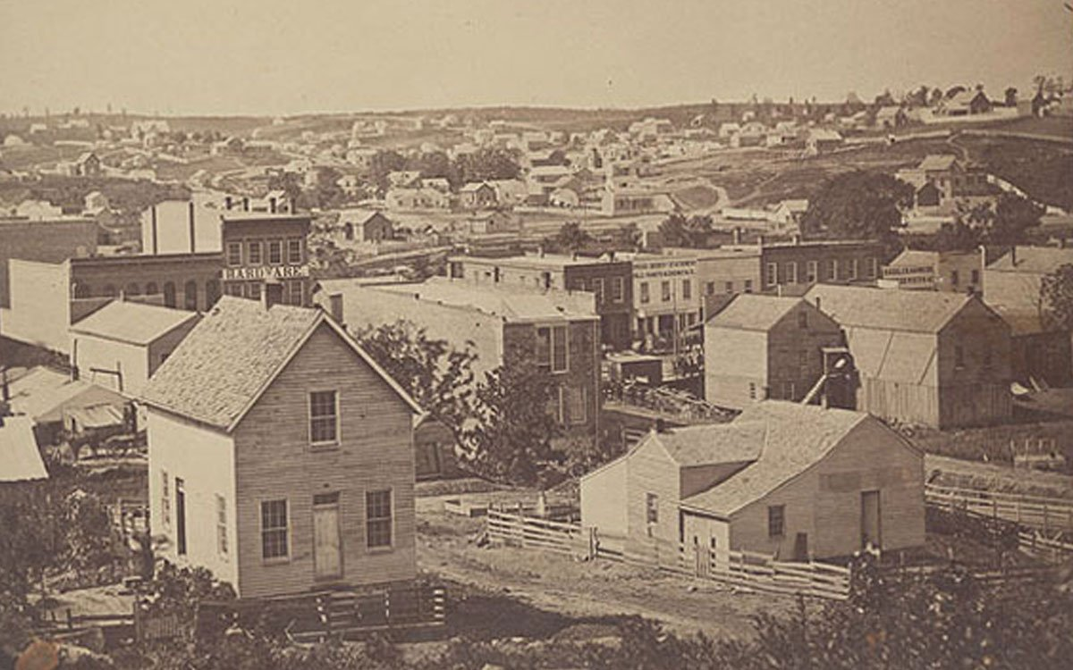 A view, taken sometime around 1860, looking southwest in Atchison, Kansas Territory. (Photo Courtesy of Kansas Historical Society/kansasmemory.org)