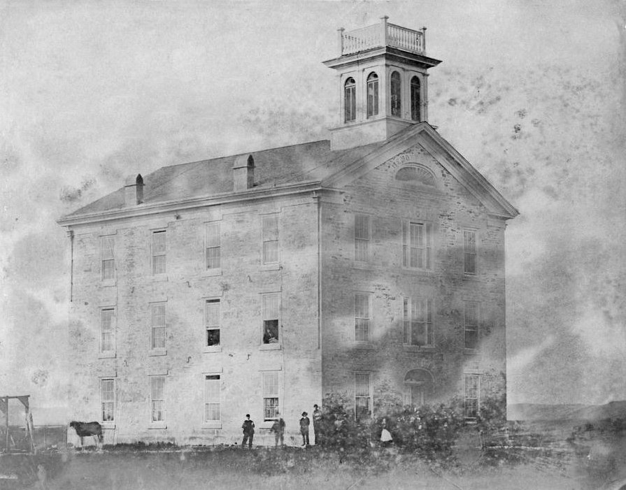 Bluemont College building in Manhattan, Kansas. The photograph was taken by Alexander Gardner as part of the series Across the Continent on the Union Pacific Railway, Eastern Division, 1867. (Photo Courtesy of Kansas Historical Society / kansasmemory.org)