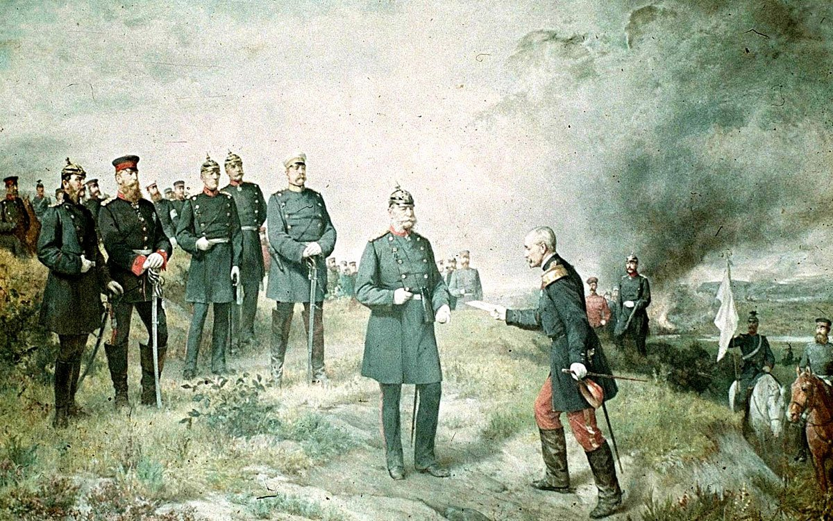 General Reille delivers to King Wilhelm I on the battlefield of Sedan the letter from Emperor Napoleon III. Wall painting in the Ruhmeshalle Berlin (destroyed). (Photo via Wikimedia)