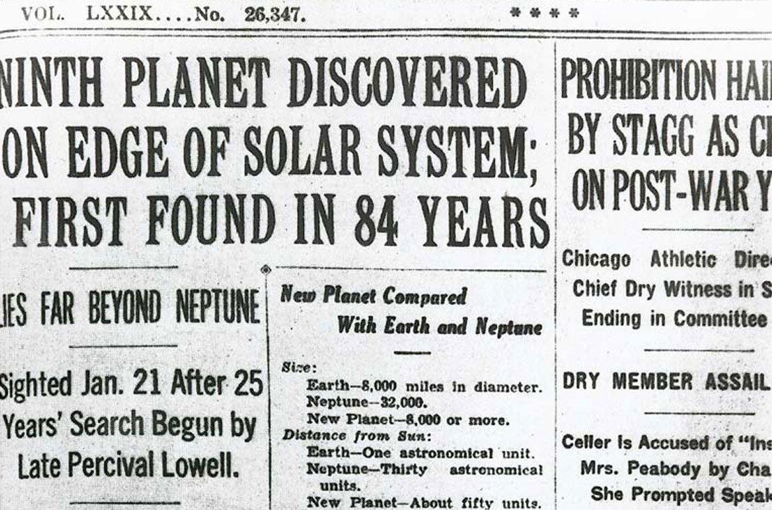 Front page article on the discovery of Pluto from the New York Times, March 14, 1930. (Image Courtesy of Kansas Historical Society / kansasmemory.org)