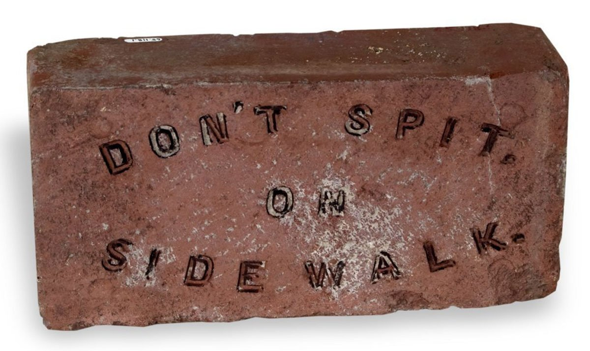 "These bricks were the brainchild of Dr. Samuel Crumbine of Dodge City, Kan., who served as Secretary of the Kansas State Board of Health from 1904 to 1924. Crumbine was concerned with the spread of disease and fought for sanitary conditions. The Capital City Vitrified Brick and Paving Company of Topeka was apparently the first company to create the ""Don't Spit"" bricks. The Coffeyville Vitrified Brick and Paving Company and others followed. (Photo Courtesy of Kansas Historical Society/kansasmemory.org)"