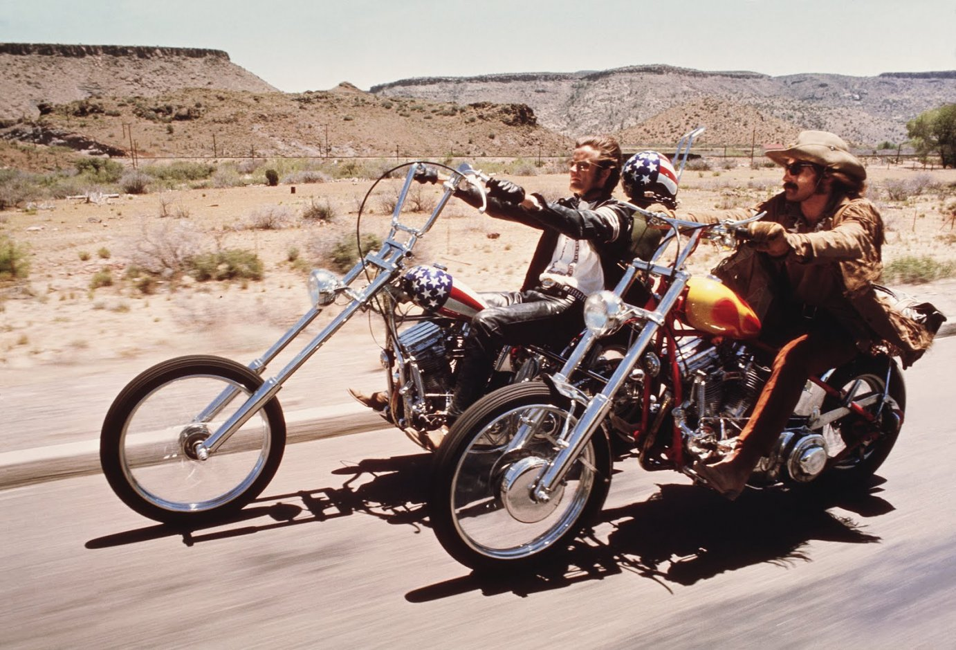 "In 1969, Hopper directed and starred in ""Easy Rider,"" for which he received an Academy Award for Best Original Screenplay (as co-writer). Hopper (right) starred with Peter Fonda."