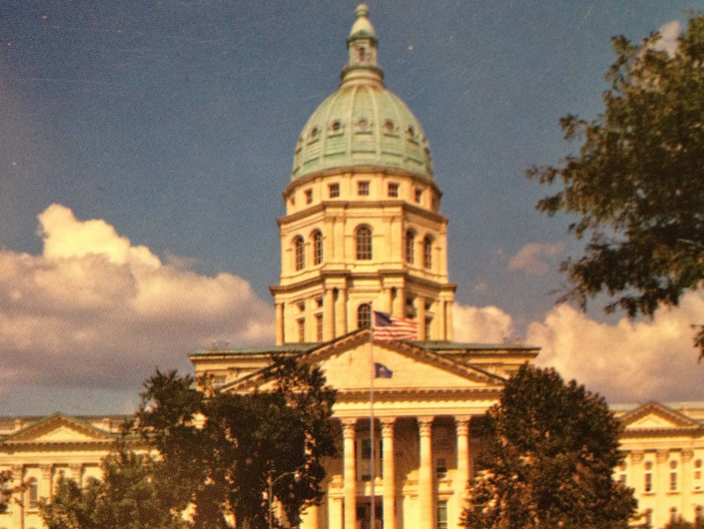 File image of the Kansas Statehouse taken from a postcard used during the administration of Governor Bill Graves.